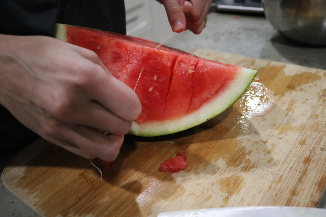 Slicing Watermelon with Floss