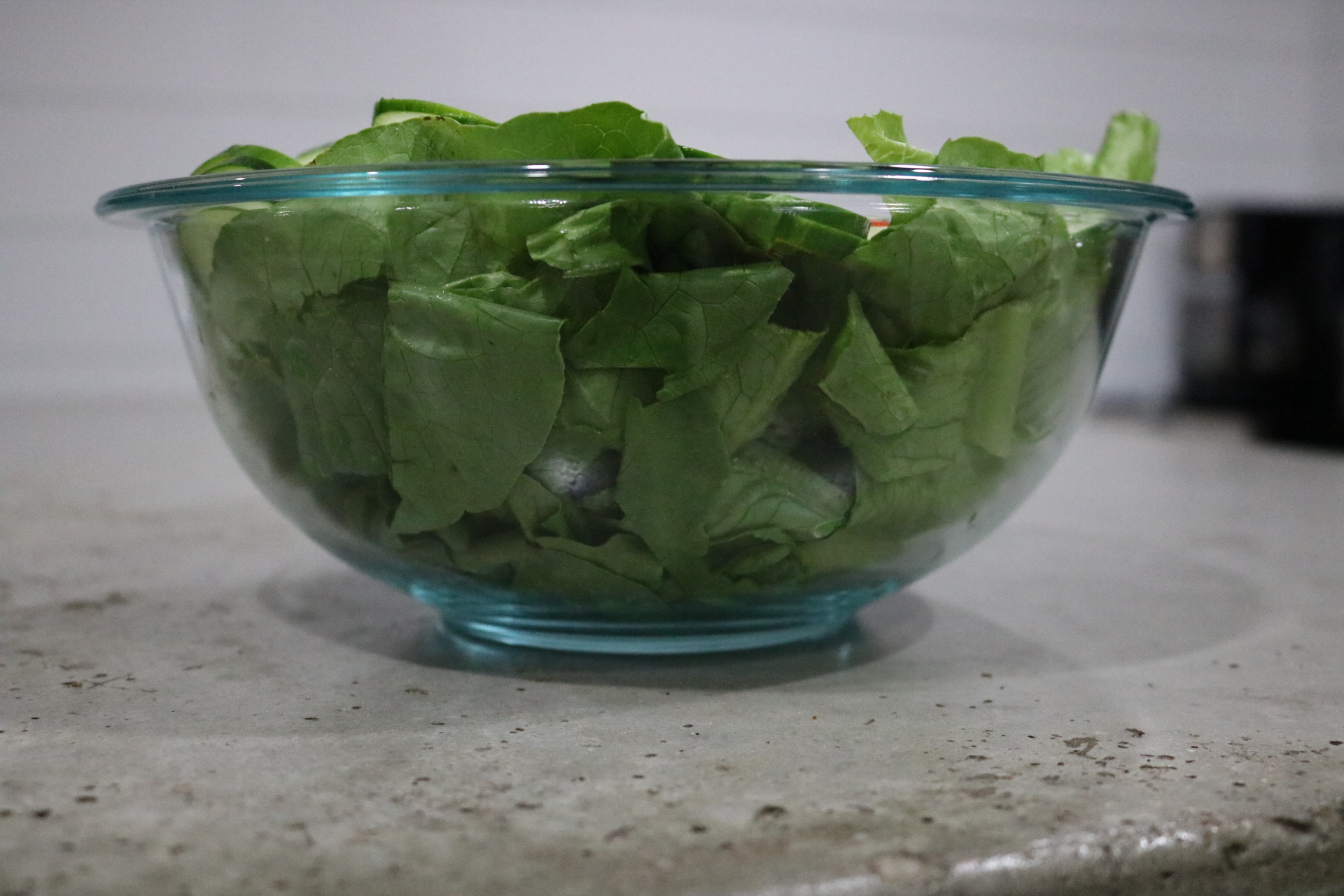 Salad in a clear bowl