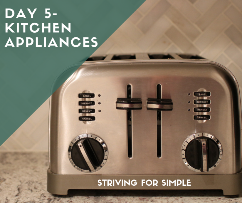 title image for day 5 of declutter challenge kitchen appliances