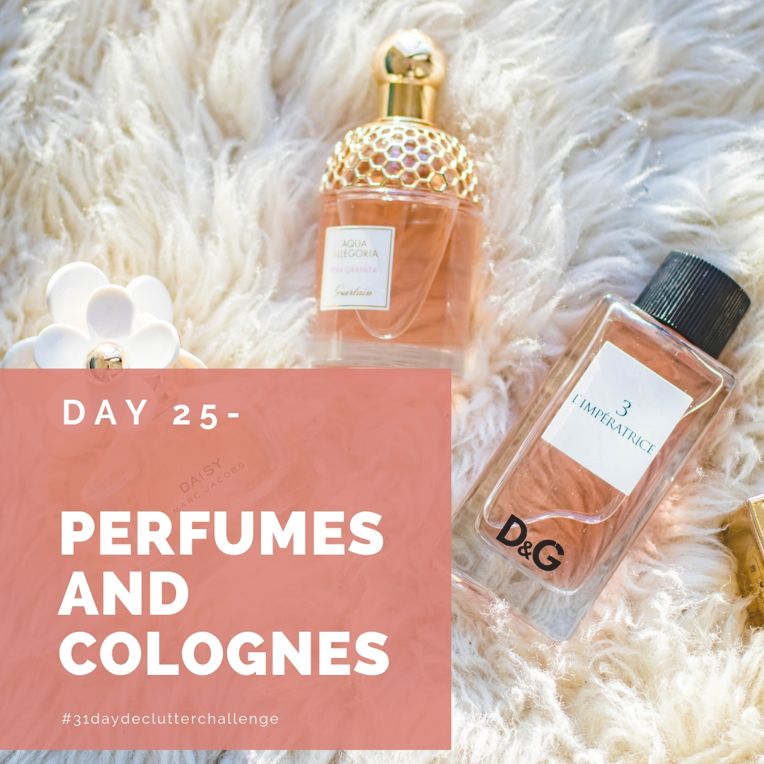 perfumes on white shag rug